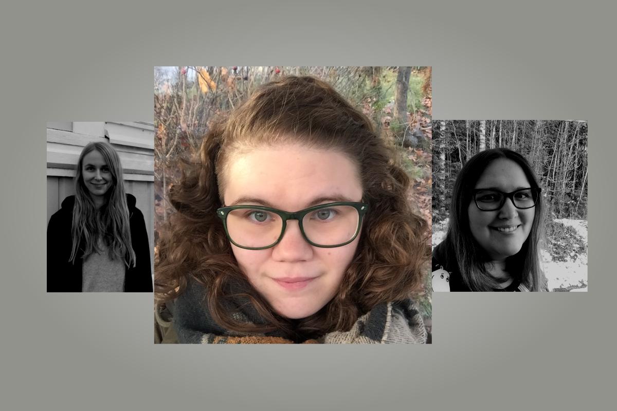 Uudet työntekijät Heidi, Riikka ja Annimari - Riikka keskellä korostettuna.